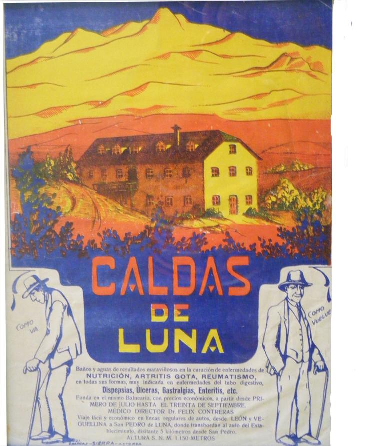 Cartel antiguo del Balneario de Caldas de Luna